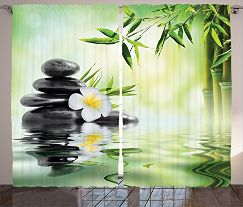 Ambesonne Spa Decor Curtains, Garden with Frangipani Bamboo Japanese Relaxation Resting Travel, Living Room Bedroom Decor, 2 Panel Set, 108 W X 84 L Inches Review