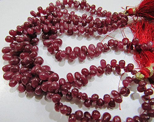 (SALE- Smooth Teardrop Ruby Beads 8 inches Strand , Natural Ruby Beads Plain Drop Beads Sold in Wholesale Prices , Precious Gemstones)