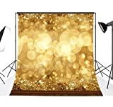 DODOING 10x10FT Christmas Spots Balls Photographic Background Blur Fancy Gold Circle Glitter Bokeh Golden Sparkle Modern Shiny Photo Backdrops for Photography Studio Props 3x3 Meters