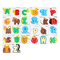 GEMEM Alphabet Flash Cards Animals Wooden Jigsaw Puzzle ABC Letter Cards for Toddlers 2-4 Years Preschool Educational Montessori Toys (26 Cards and 26 Wooden Blocks)