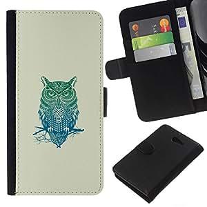 All Phone Most Case / Oferta Especial Cáscara Funda de cuero Monedero Cubierta de proteccion Caso / Wallet Case for Sony Xperia M2 // Pattern Owl Tribal