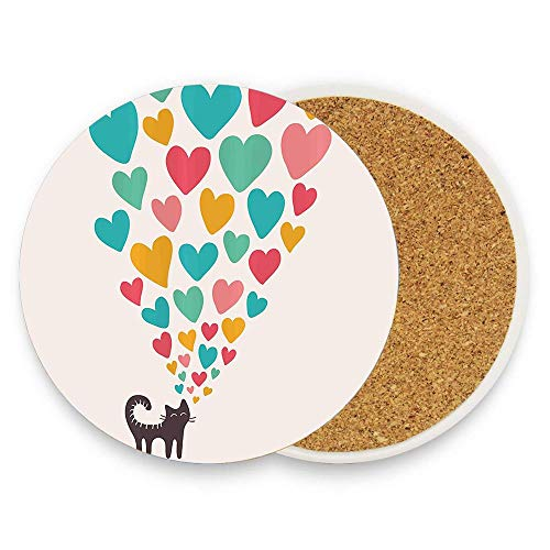 BeautyToiletLidCoverABC Cute Cat in Love with Colorful Different Size Hearts Happy Sweet Kitty Clipart Round Ceramic Stone Coaster Mug Coffee Cup Mat Home Coaster for Hot & Cold Drinks Pack Of 1