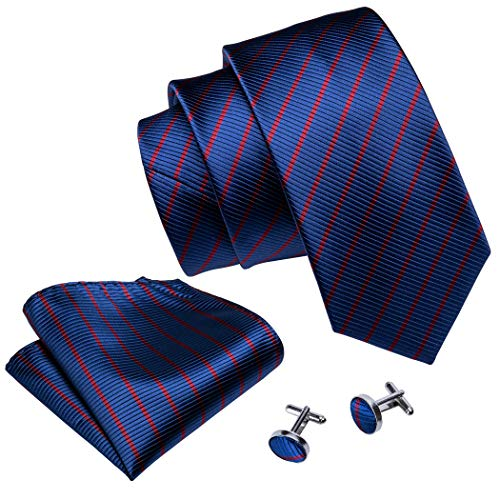 (Barry.Wang Blue and Red Tie Set Stripe Tie Pocket Square Cufflinks Woven Silk)