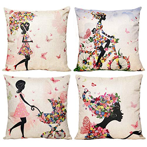 NYKKOLA Soild Linen Flower Fairy Girl Pink Wing Elves Butterflies Throw Pillow Covers Pack of 4, Decorative Pillowcase Cushion Cover for Sofa Bedroom Car 18 x 18 Inch 45 x 45 cm (Style 25) ()