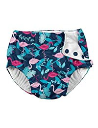 i play. by green sprouts Baby Toddler Girls' Snap Reusable Swim Diaper, Navy Flamingos, 4T
