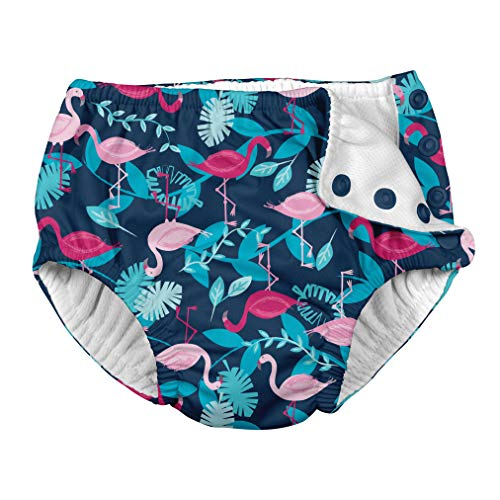 i play. Baby Girls Snap Reusable Absorbent Swimsuit Diaper Navy Flamingos 24mo, 24 Months