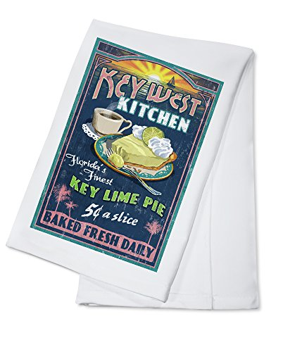 Key West, Florida - Key Lime Pie Vintage Sign (100% Cotton Kitchen Towel)