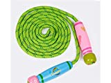 Yuchoi Adjustable Wooden Cartoon Skipping Rope Children Cotton Jumping Rope for Fitness Sport Exercise