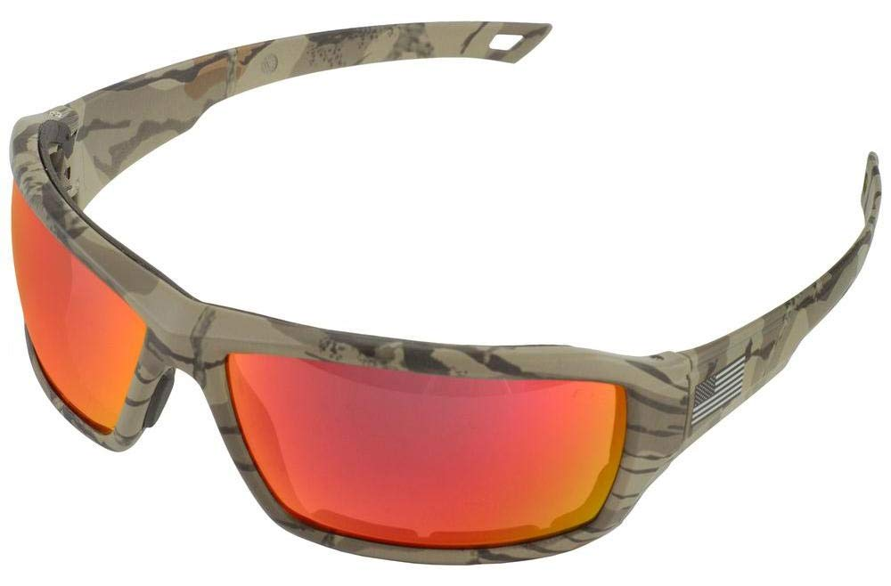ERB 18043 One Nation Live Free Safety Glasses with Camo Frame and Red Mirror Lens