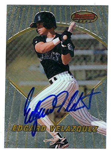 Edgard Velazquez autographed Baseball Card (Colorado Rockies) 1996 Bowmans Best #132 - Autographed Baseball Cards