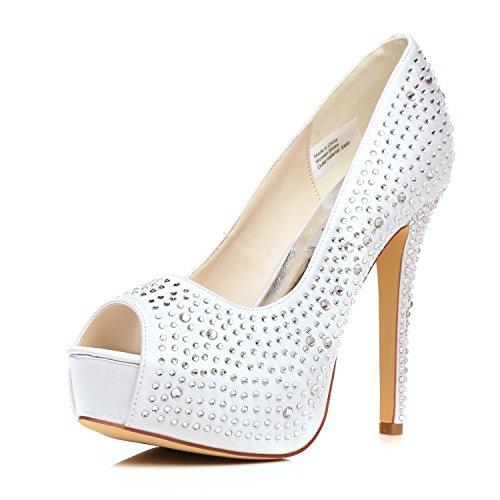 Jiame Plataforma Para Mujer De Tacón Alto Peep Toe Bombas Pedrería Satinado Zapatos De Baile Nupcial De La Boda (eu40 / 8.5b (m) Ee. Uu., Blanco)