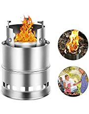 Camping Stove,Outdoor Portable Stainless Steel Wood/Gas Cooking Stove for Camping