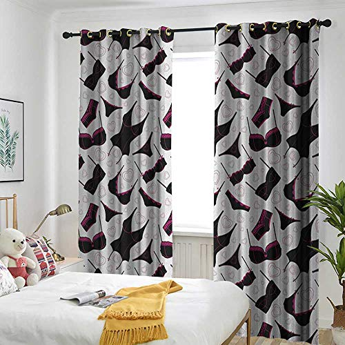 (TRTK Bedroom Curtains Design Curtain Home Decoration Retro,Lingerie Pattern Brassiere and Panties with Hearts Women`s Fashion Underwear Black Fuchsia White )