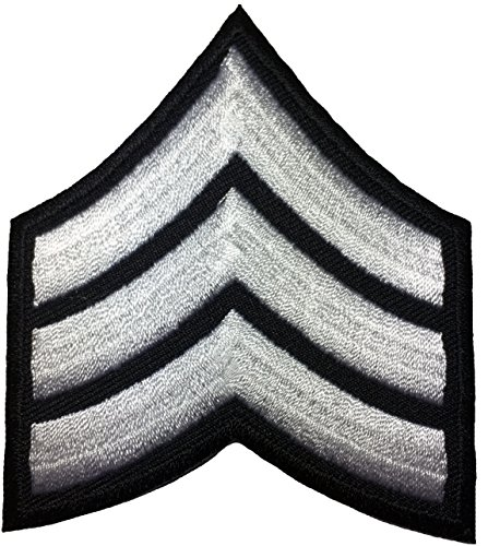 Papapatch Chevrons Sergeant E-5 Stripes US Army Rank Sew on Iron on Arms Shoulder Embroidered Applique Patch - Black and White (1 Piece) (IRON-E5-BKWH)