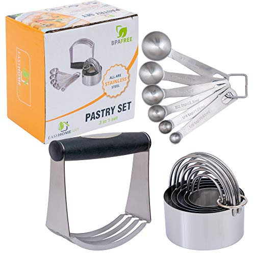 Stainless Steel Pastry Tools Set by Easyhomeart,Rustproof Dough Blender, 5 Biscuit Cutters and 6 Measuring Spoons for Professional Baking in Your Home Kitchen