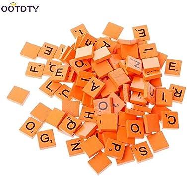 Ochoos 100 piezas de madera de Scrabble azulejos mezclar letras barnizadas alfabeto Scrabbles 9 colores para elegir: Amazon.es: Juguetes y juegos