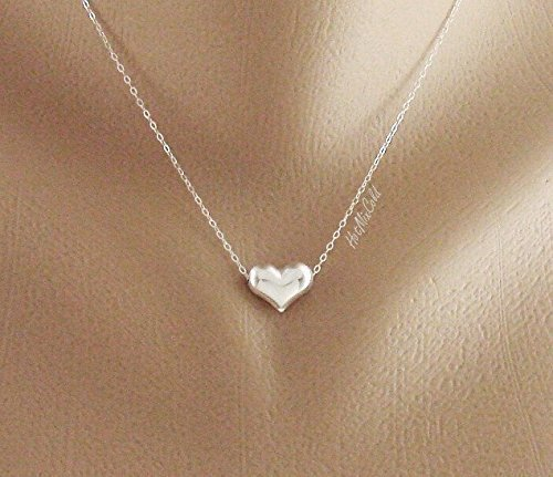 Dainty Puffy Heart Necklace, Silver Heart Jewelry, Simple Everyday Jewelry, Affordable Bridesmaid Gifts