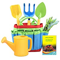 KINCREA Kids Gardening Tools, Outdoor Toys Set Gardening Set Includes Sturdy Tote Bag, Watering Can, Shovel, Rake, and Trowel