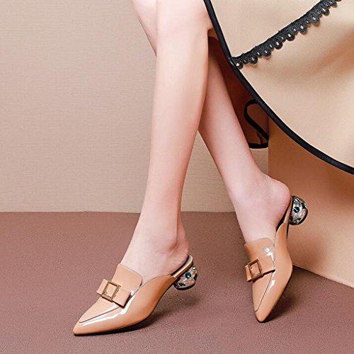 verde scarpe col UK6 dimensioni MUMA con femminili ruvidi Scarpe medio Verde CN39 Sandali albicocca Colore tacco EU39 Albicocca tacco 0qx55vFw
