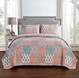 quilt rug - VCNY Home Anna 3 Piece Pinsonic Reversible Bedding Quilt Set, King, Peach