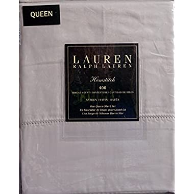 Lauren Ralph Lauren Hemstitch Queen Sheet Set 400 TC Sateen Light Gray