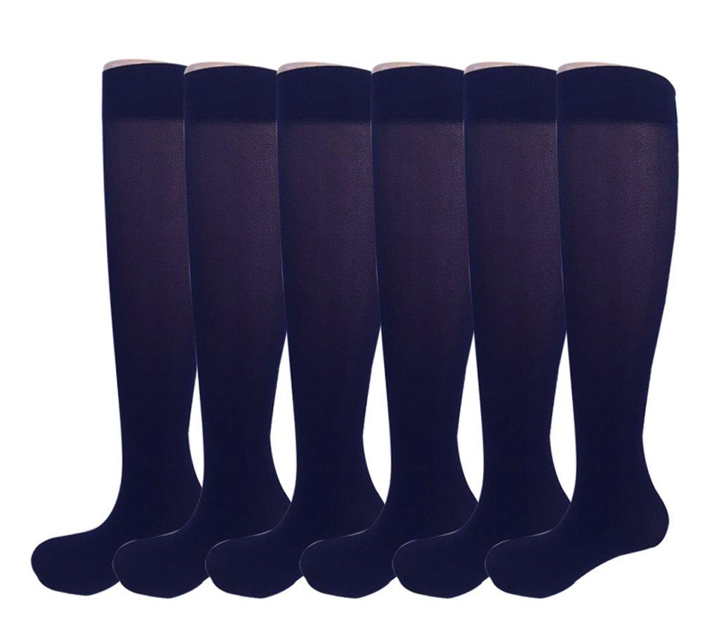 6 Pairs Women's Opaque Spandex Trouser Knee High Socks Queen Size 9-11-navy
