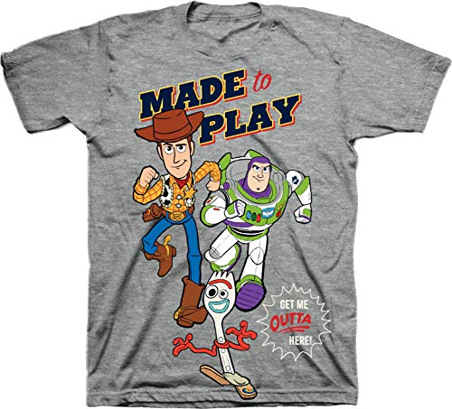 Custom Made Toddler Clothes (Toy Story Made to Play Woody Buzz & Forkie Crew Neck Short Sleeve Ghaphic Tee - Grey Heather/Size:)
