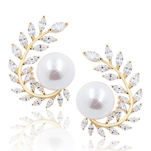 14K Gold Olive Leaf Curved CZ Crystal Diamond Pearl Stud Wedding Earrings Bridal Jewelry for Women Girls