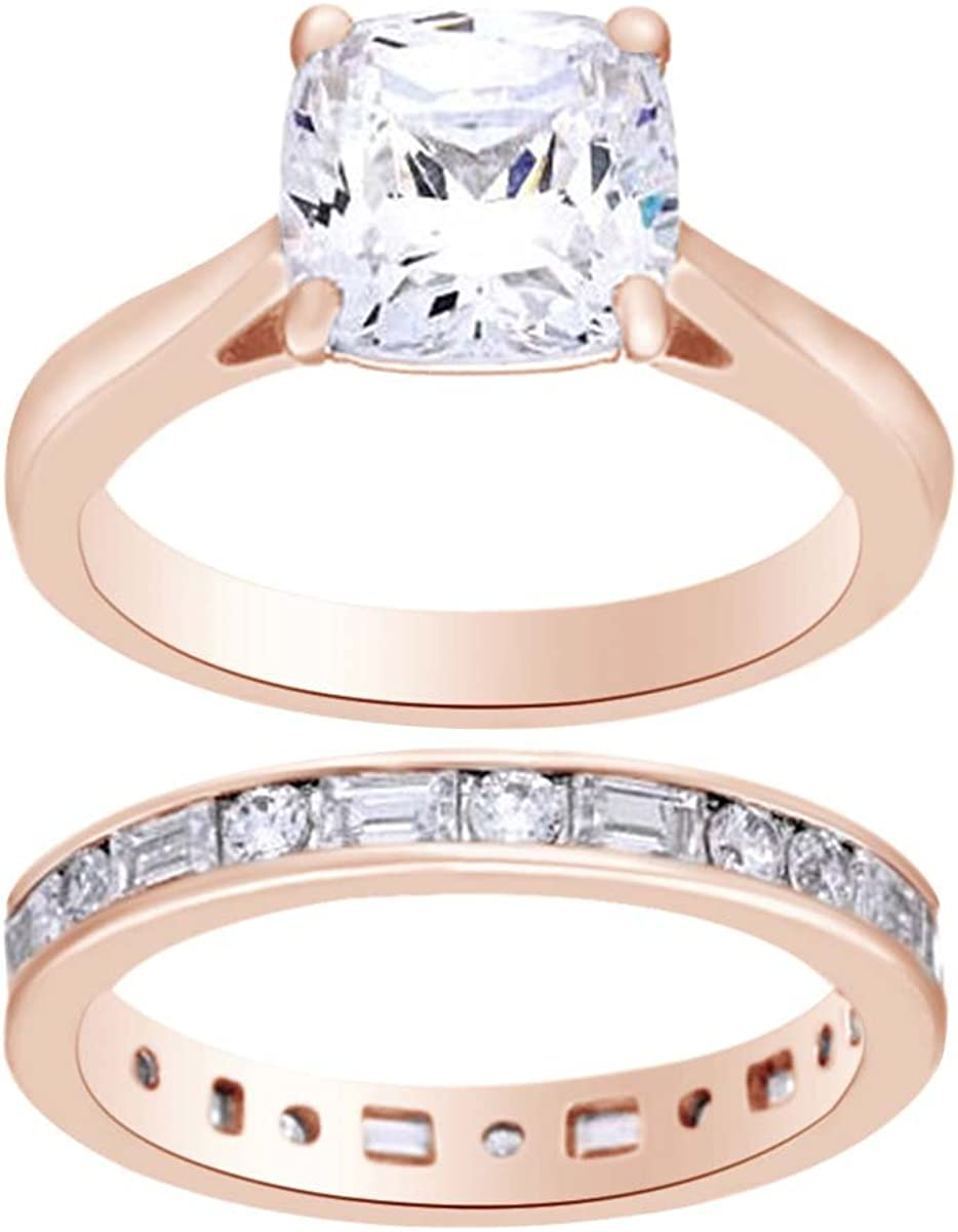 AFFY Multi White Cubic Zirconia Bridal Ring Set in925 Sterling Silver