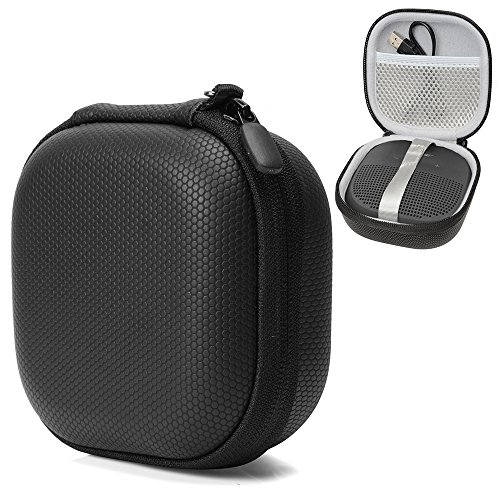 Bluetooth Speaker Protective Case for Bose SoundLink Micro by CaseSack, mesh Pocket for Cable and Other Accessories, Elastic Strap to Secure The Speaker (Black Rubber)