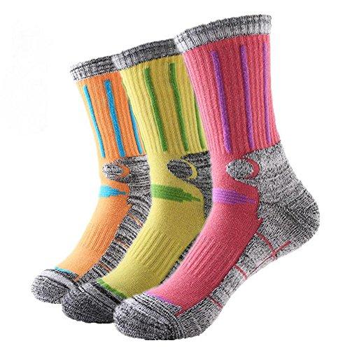 Crew Socks Full Thickness Wicking Performance Trail Sock Pink Yellow Orange Women US 5 to US 8.5 (Junior Trail Socks)