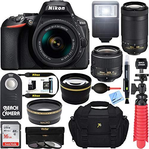 Nikon D5600 24.2MP DSLR Camera with 18-55mm VR and 70-300mm Dual Lens (Black) - (2 Lens Value Kit 18-55mm VR & 70-300mm) - (Renewed) (Best Value Dslr Camera)