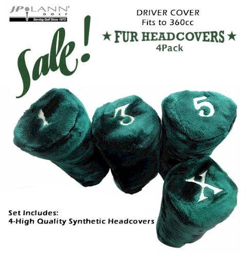 Fur Golf Club Headcovers - Green - 4 Pack - Barrel Style *Fits Up to 360cc*