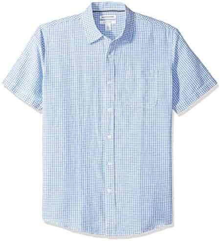 f2108ce7 Amazon Essentials Men's Regular-fit Short-Sleeve Gingham Linen Shirt