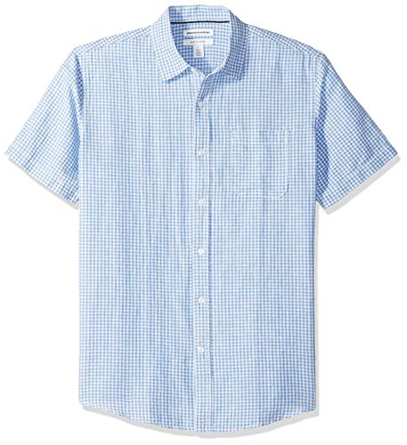 Amazon Essentials Men's Regular-Fit Short-Sleeve Gingham Linen Shirt, Blue, -