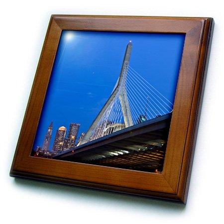 3dRose ft_91023_1 USA, Massachusetts, Boston. The Zakim Bridge - US22 WBI0625 - Walter Bibikow - Framed Tile, 8 by (Boston Framed Tile)