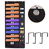 laundry chart - Homyfort Hanging File Organizer, Wall Mount Folder Holder,Over the Door Storage Pocket Chart,Perfect for Home, School or Office Bill Magazine with 3 Hooks 20 pockets Black