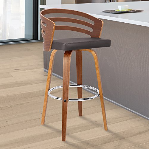 "Armen Living  Jayden Mid-Century Swivel Counter Height Barstool, 26"", Brown"