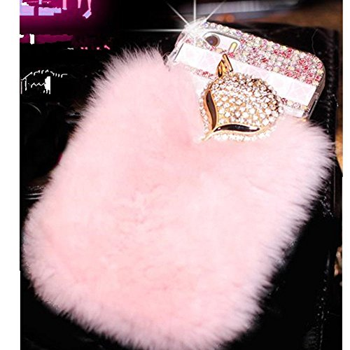 0071 Cherry (KAKA(TM) Phone Case for iPod, iPod Touch 6 4D Rhinestone Crystal Clear Back Cover with Bling Fox Decoration Softy Warm Fur (Pink))