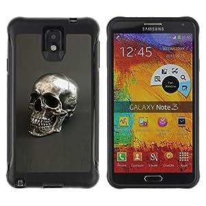 Be-Star único patrón Impacto Shock - Absorción y Anti-Arañazos Funda Carcasa Case Bumper Para SAMSUNG Galaxy Note 3 III / N9000 / N9005 ( Silver Skull Grey Bling Dead Metal )
