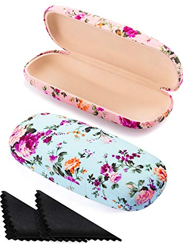 - 2 Pieces Spectacle Case Box Portable Hard Eyeglass Case Fabrics Floral Eyeglass Case Spectacles Box Case for Eyeglasses (Pink, Blue)