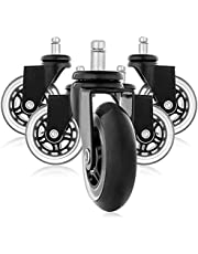 Wivarra 5Pcs 11X22mm Office Chair Wheels Wivel Rubber Caster Wheel Safe Rolling Caster Replacements for Home Furniture