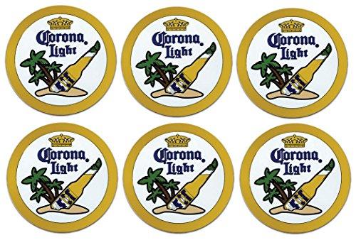 Corona Light 6 Rubber Bar Coasters Spill Mat Mini Bar ()
