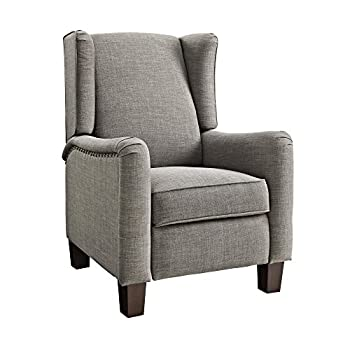 Dorel Living DL7204 Wingback Pushback Recliner, Gray