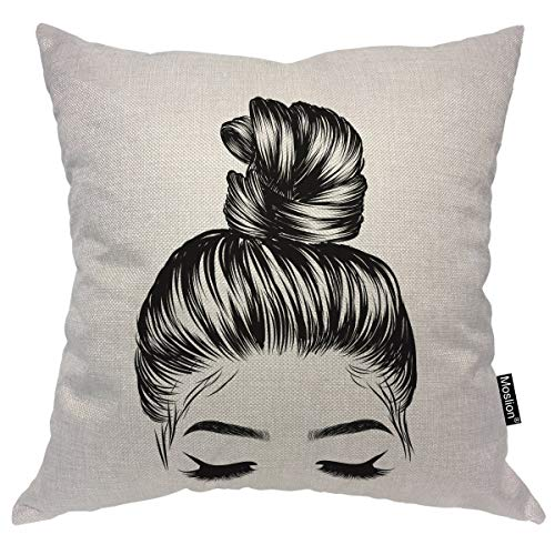 Accent Eyebrow - Moslion Girl Decorative Pillow Case Sketch of Woman with Fashion Bun Perfet Eyebrow Eyelash Throw Pillow Cover Square Accent Cotton Linen Home 18x18 Inch Black White