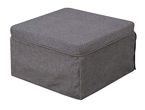 Convenience Concepts 143709FSGY Ottoman, Soft Gray Fabric