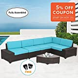Diensday 6 Pc All-Weather Deluxe Cushioned Outdoor Patio PE Rattan Wicker Sofa Sectional Furniture Set Clearance Lawn Backyard Furniture,Aluminum Frame,Blue Cushions (6 piece,Mixed Brown)