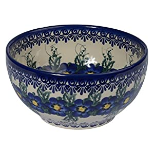 Traditional Polish Pottery, Handcrafted Ceramic Salad Bowl (1500ml), d.19cm, Boleslawiec Style Pattern, M.704.Pansy