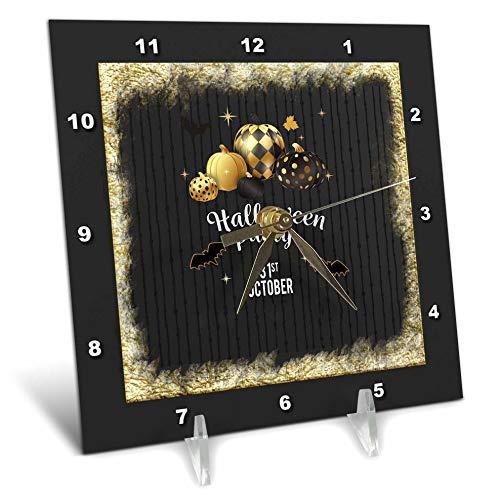 (3dRose Beverly Turner Halloween Design - Designer Pumpkins, Leaves, and Bats, Halloween Party, October 31, Gold - 6x6 Desk Clock)
