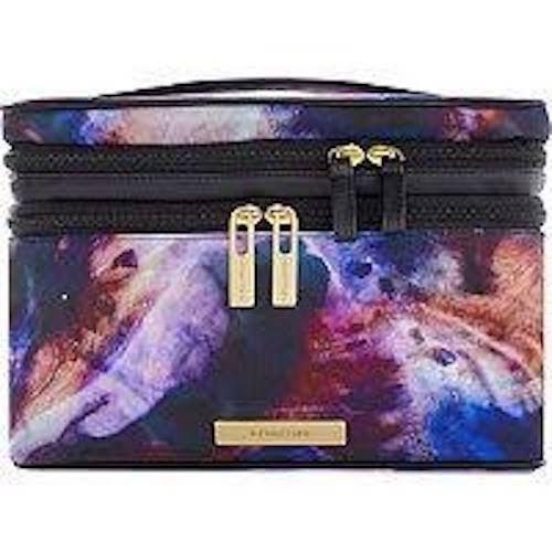 Plaid Train (Trina Tartan + Twine Double Zip Train Case Space Foil Galaxy Cosmetic Bag)